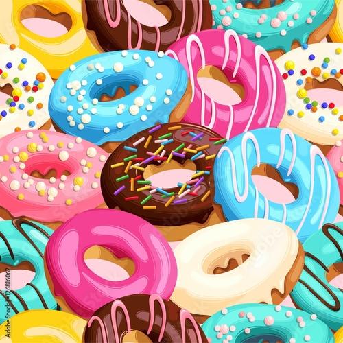 Cotton fabric Glazed donuts seamless