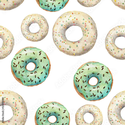 Cotton fabric Watercolor seamless pattern with glazed donuts. Repeating food background. Yummy design
