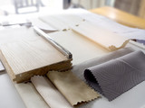 samples of material, wood , color , fabric curtain,stainless ,ceramic , for interior design