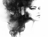 woman portrait .abstract watercolor .fashion background - 126820075