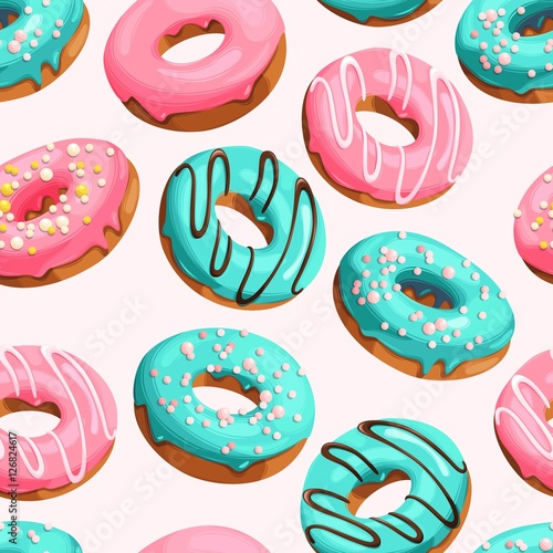 Cotton fabric Glazed donuts seamless