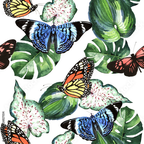 Materiał do szycia Tropical Hawaii leaves palm tree and butterflies pattern in a watercolor style isolated.