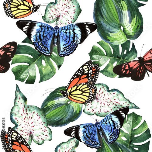 Stoffe zum Nähen Tropischen Hawaii verlässt Palm Tree und Schmetterlinge Muster in einem Aquarell Stil isoliert.