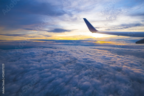 Poster Beautiful view from window of airplane in sunrise sky