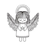 Angel cartoon icon. Christmas season decoration and celebration theme. Isolated design. Vector illustration