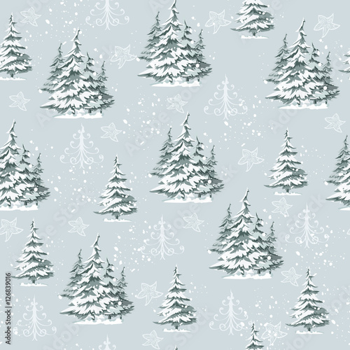 Cotton fabric Seamless vintage Christmas pattern for gift wrap and fabric design