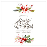 Fototapety Christmas card. Watercolor painting with berries. Hand lettering.