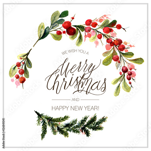 christmas card watercolor painting hand lettering buy photos