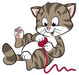 Verspielte Katze mit Wollknäuel