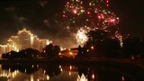 celebration in minsk city with bright fireworks in night