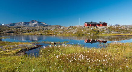 Typical Scandinavian Red Painted Cabins, Lapland