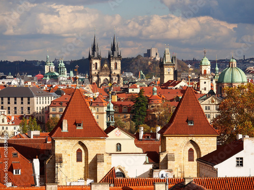 Staande foto Praag Aerial view over Old Town in Prague with domes of churches, Czech Republic