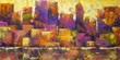 Colorful Cityscape - Acrylic painting of a colorful city skyline