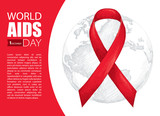 Vector illustration with gray earth planet and red ribbon isolated on white background. AIDS Awareness symbol in line art style. Design for world AIDS day 1 December with world map, ribbon and text.