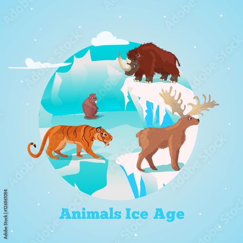 Staande foto Lichtblauw Beasts Ice Age Round Design