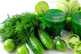 green smoothies with fresh vegetables and fruits isolated
