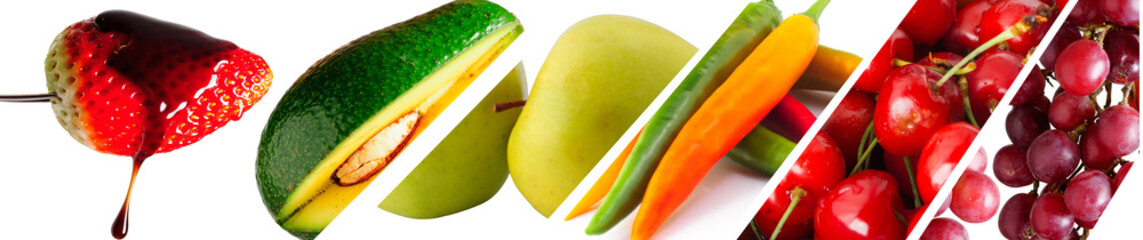 Mix of color fruits, Color fruits and vegetables