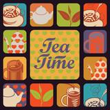 set vector icon logo for tea time