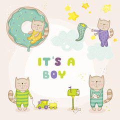 Baby Cat Set - Baby Shower or Arrival Cards - in vector