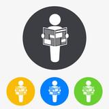 Icono plano hombre de pie con periodico en circulo varios colores