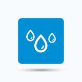Water drop icon. Rainy weather symbol. Blue square button with flat web icon. Vector
