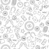 Seamless pattern on the theme of gambling and money simple contour icons on white background - 126893628