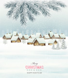 Winter christmas background with a snowy village landscape. Vect