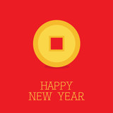 Happy New Year symbol. Feng shui Chinese coin with hole. China gold money. Flat design. Red background