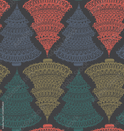 Materiał do szycia Seamless vector pattern with hand drawn doodle graphic christmas trees