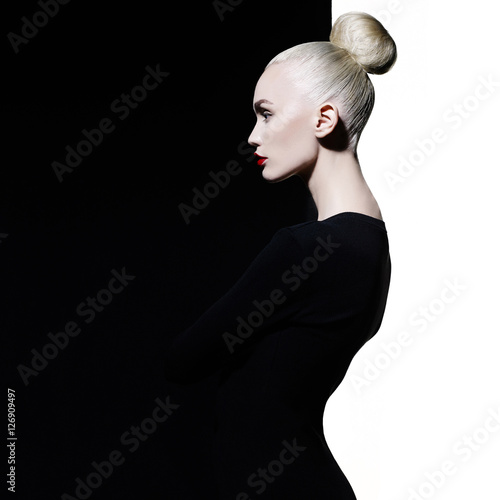 Elegant blode in geometric black and white background