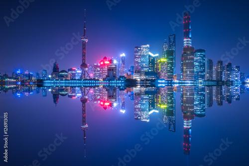 Foto op Aluminium New York Shanghai financial district at night in China.