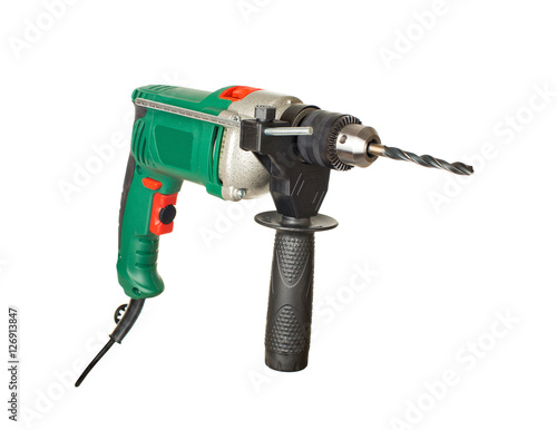 Poster electric drill. perforator. isolated