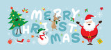 Christmas, Santa Claus and Friends with Lettering, Snowman, Reindeer, Pine Tree. Happy New Year