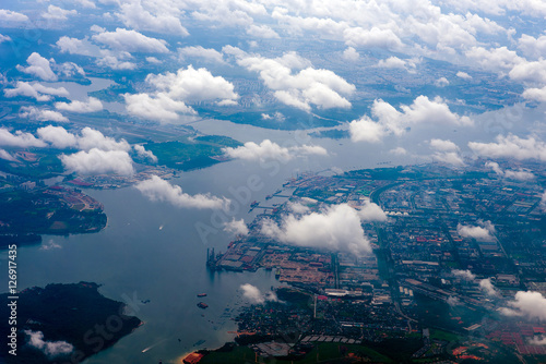 view through airplane window - 126917435