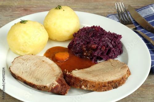 Poster Braten mit Kartoffelknödel