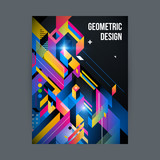 Poster/cover design template with shiny geometric shapes on black background.