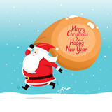 Santa Claus With Big Sack Running quickly, Christmas, Xmas, New Year, Objects, Festive, Celebrations