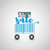 Cyber monday simple card desing with shopping cart barcode. Sale