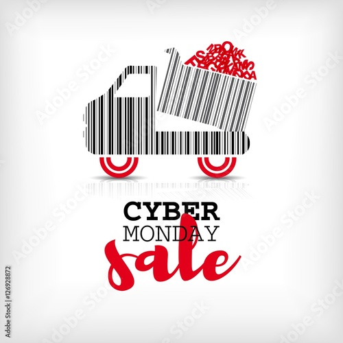 Cyber monday design with shopping truck barcode. Sale concept. V