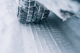All-season tyre track on snow