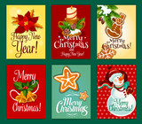 Christmas and New Year card set for holiday design