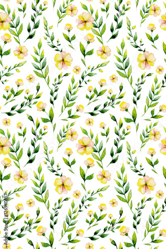 Cotton fabric Seamless watercolor yellow flower and herbs set. May be used for Easter textile decoration print, invitation card, wedding decor or wrapping paper design