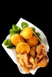 fried chickpea patties, potato wedges. healthy fast food isolate