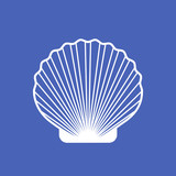 Marine shell or seashell scallop vector isolated on blue - 126948849