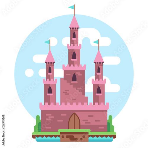 Foto op Aluminium Kasteel Cartoon fairy tale pink alcazar castle vector illustration. Princess mysterious house with flags and gate