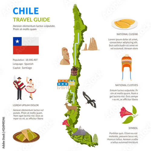 Plakát, Obraz Chile Infographics Layout With Map