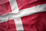 waving colorful flag of denmark.