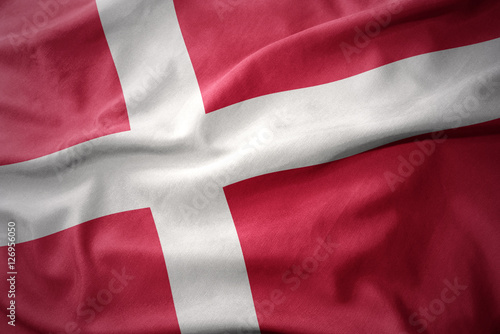 waving colorful flag of denmark. Poster