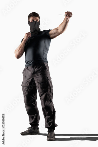 Man atacking with knife isolated Poster
