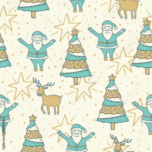 Materiał do szycia Christmas and New Year seamless pattern background